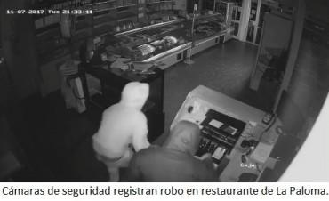 Entraron a robar y quedaron registrados por las cámaras del lugar