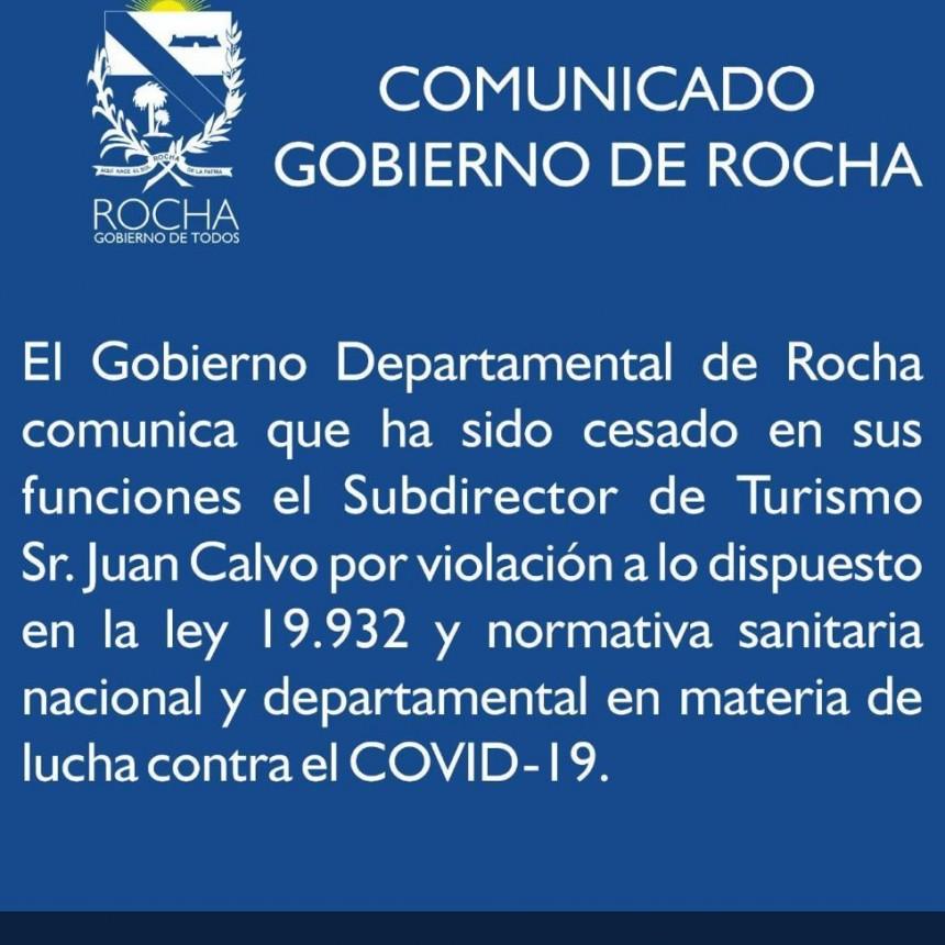 Cesan al subdirector de turismo de Rocha