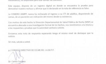 El presidente de COMERO dice que el CTI no rechazó al paciente
