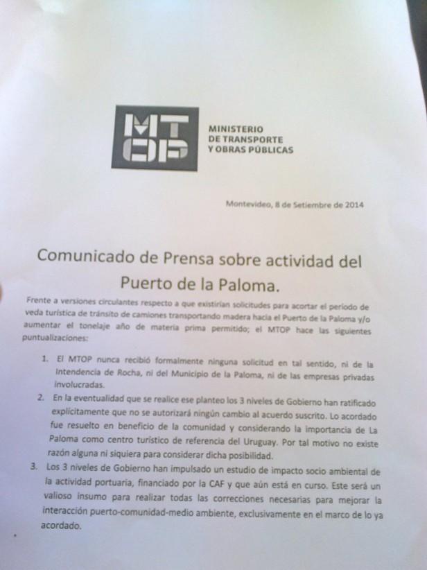 EL MINISTERIO RECHAZA LOS DICHOS DE CÁNEPA SOBRE PUERTO DE LA PALOMA