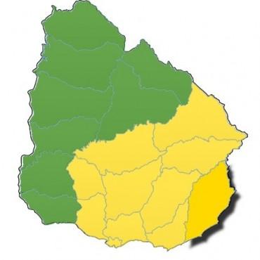 Rocha: renuevan advertencia amarilla hasta las 22 horas